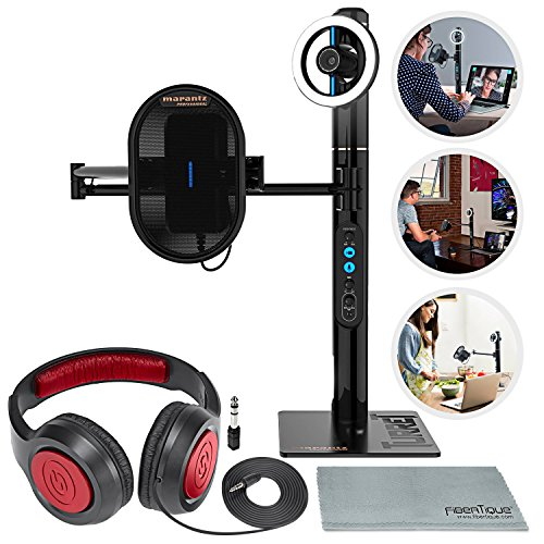 Marantz Professional Turret 1080p Broadcast & Podcast Video System, Video Calling Digital Webcam with Microphone and Deluxe Accessories