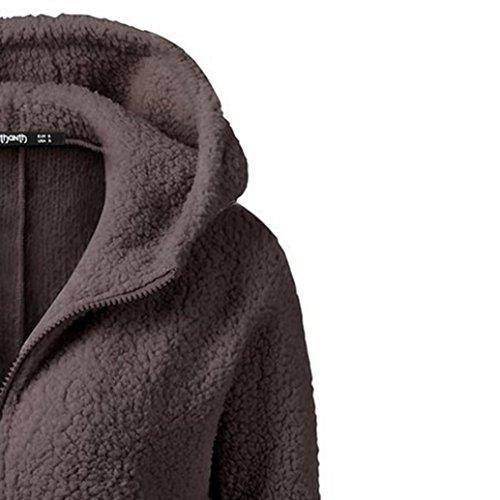 Cálida para Mujer Mujeres Cremallera Chaqueta Algodón KaloryWee las Abrigo lana de con Chaqueta Capucha Café de Invierno wU0Sq4
