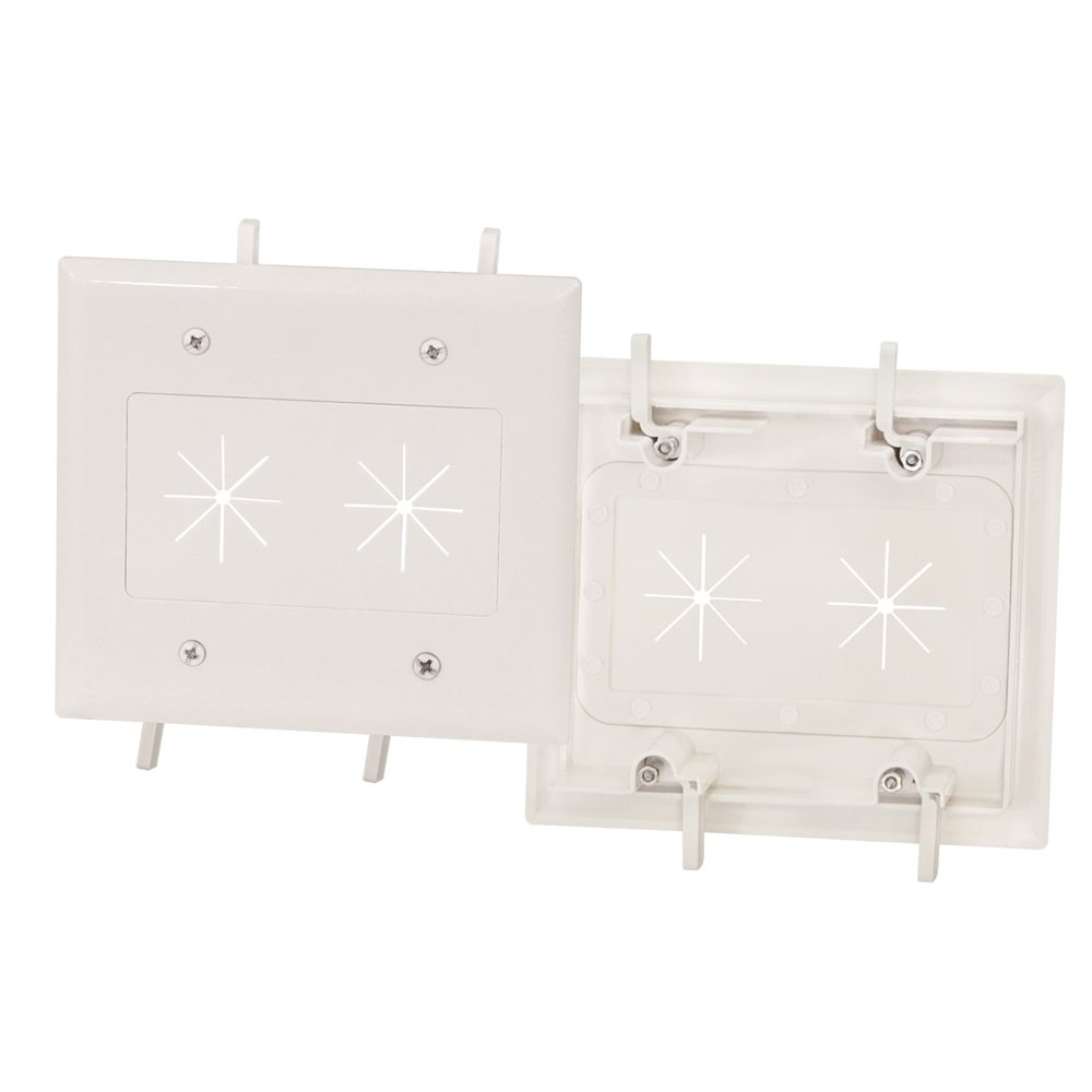Installerparts Cable Plate with Flexible Opening 2-Gang White