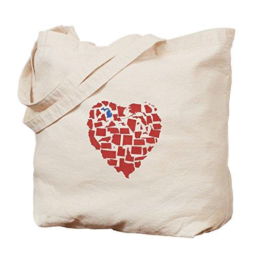 CafePress - Michigan Heart - Natural Canvas Tote Bag, Cloth Shopping - Grand Michigan Rapids Shopping
