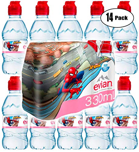 (Evian Natural Spring Sparkling Water Spider-Man Edition with Sports Cap, 11.2oz Bottle (Pack of 14, Total of 156.8 Oz))