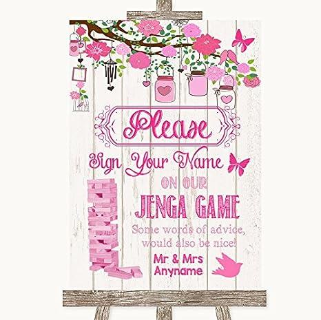 Letrero de boda rosa rústico de madera para invitados, de Jenga Framed Brushed Gold Medium: Amazon.es: Oficina y papelería