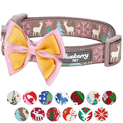Collars Dog Leashes Designer And (Blueberry Pet 14 Patterns Moments of Peace Happy Reindeer Christmas Designer Dog Collar, Small, Neck 12