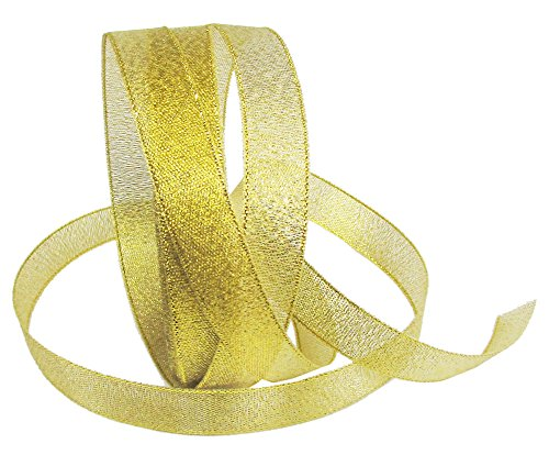 Hipgirl Gold Glitter Ribbon for Crafts- Non-Wired Ribbon for Gift Wrapping, Great Golden Ribbon for Christmas Tree Garlands, Gift Ribbon Bows, Party Favors - (25yd 1