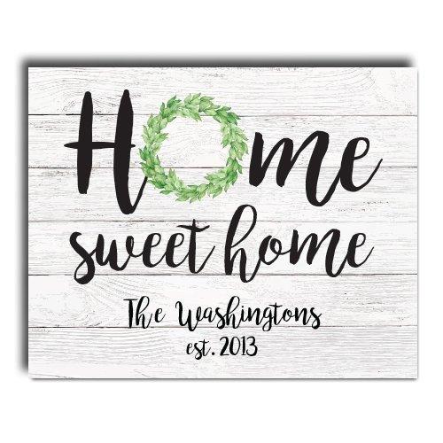 Home Sweet Home Paper Art Print   Personalized Home Decor   Wedding Gift    Housewarming Gift   Rustic Decor   Farmhouse Decor   Wall Decor   Faux  Shiplap ...