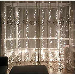 Lebefe 9.84ft x 9.84ft 300 Led Icicle Curtain Lights Christmas Lights Wedding Lights String Lights for Home Decor With Memory Function Controller UL certified(White)