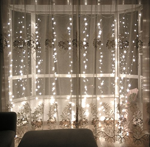 Lebefe 9.84ft x 9.84ft 300 Led Icicle Curtain Lights Christmas Lights Wedding Li…