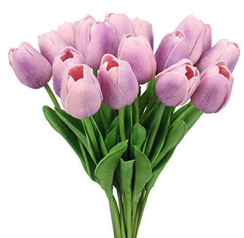 Duovlo 18 Heads Artificial Mini Tulips Real Touch Wedding Flowers Arrangement Bouquet Home Room Centerpiece Decor (Light Purple) ()