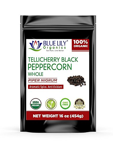 (Blue Lily Organics Whole Tellicherry Extra Bold Black Peppercorns 16OZ - Certified Organic)