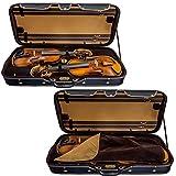 SKY Heavy Duty 4/4 Full Size Wooden Pro Double Violin Case Black/Khaki
