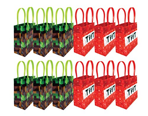 Pixels Miner Themed Party Favor Bags Treat Bags, 12 Pack]()