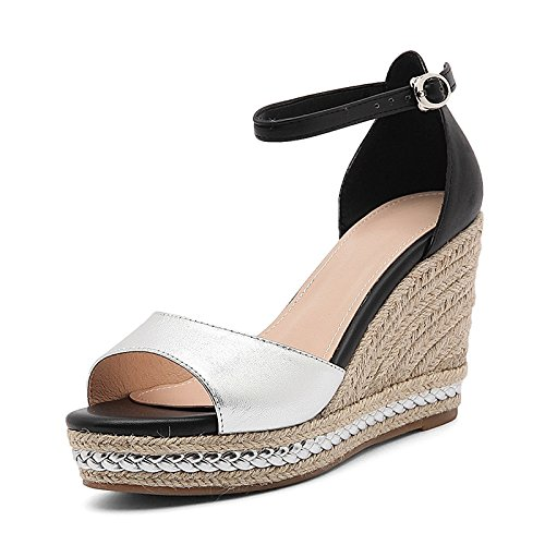 AJ-scheda di pelle spessa impermeabile sandali tacchi le scarpe e una cannuccia.,eu34,argenteo
