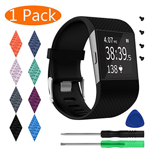 KingAcc Fitbit Surge Bands, Silicone Accessory Replacement Band for Fitbit Surge, With Metal Buckle Fitness Wristband Strap WatchBand Women Men (1-Pack, Black, Large)