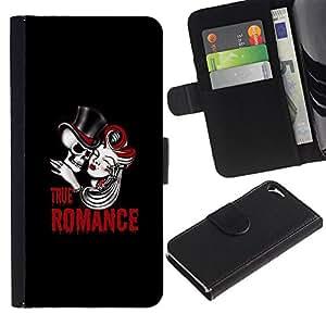 JackGot ( Verdadero cráneo Romance ) Apple iPhone 5 / iPhone 5S la tarjeta de Crédito Slots PU Funda de cuero Monedero caso cubierta de piel