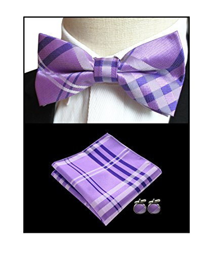 Men Lavender Purple Summer Wedding Bow Ties Checks Youth Beautiful Dress Bowties by Secdtie