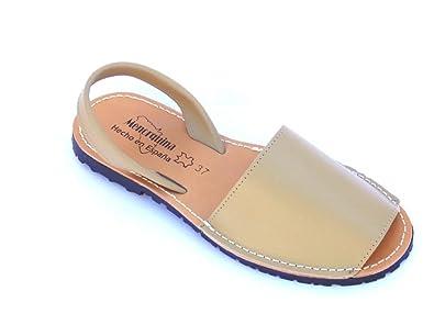 avarca Abarca Braun Damen Leder eben original Sandalen