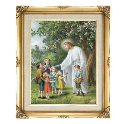 Jesus with the Children Framed Art by Discount Catholic Store