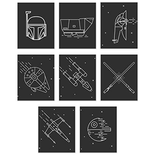 (Star Wars Minimalist Prints - Set of Eight Iconic Ships, Masks and Scenes 8x10 Wall Art Decor Photos Including Boba Fett and Space Ship, Millenium Falcon, X Wing, Deathstar, Lightsaber, Y Wing, Jawa)