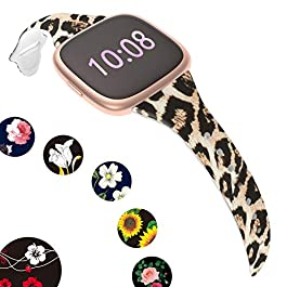 ACBEE Compatible with Fitbit Versa 2 Bands for Women Small Large, Narrow Flowers Silicone Wristband for Fitbit Versa 2 / Versa Lite/Versa Special Edition/Versa