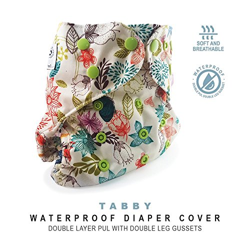 Baby Tooshy Cloth Diaper Covers with Double Gussets. Waterproof, Adjustable & Reusable. One Size for Prefolds/Flats/ Inserts. Tabby