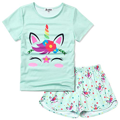 Unicorn Pajamas for Girls 8 9 Little Kids Pjs Sets Short Sleeve Night Shirts -