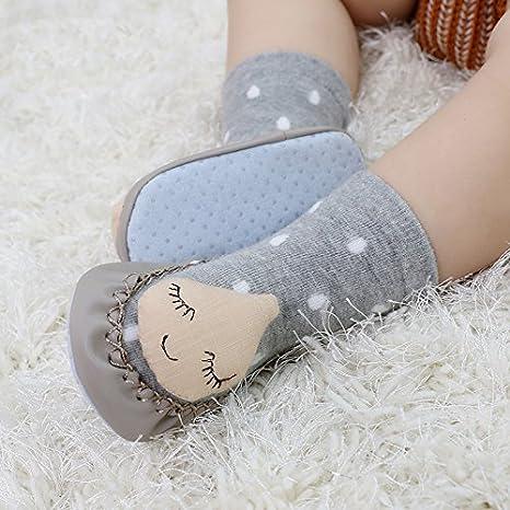 Qiaonai 2 Pcs Anti Skid Cartoon Cute Cotton Unisex Baby Short Socks TM