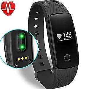 Willful Fitness Tracker Pulsera Inteligente Monitor de Pulso Cardiaco Bluetooth Pulsera Inteligente Deporte Actividad Tracker con Contador de Calorias/Monitor de Sueño/Contador de Pasos/Reloj,Compatible con iOS, Android Smartphone Soporta Llamada Mensaje (negro)