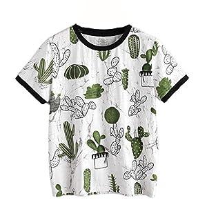 Simayixx Hot Sale! Blouse For Women, Women Girl Summer Short Sleeve Cactus Strawberry Printed T-Shirt Blouse Tops (M, White)