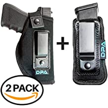 Neoprene IWB Inside The Waistband Handgun/Pistol Holster With Mag Pouch Bundle | Gun For Concealed Carry, Universal | Fits: S&W M&P Shield, Glock 17 19 26 27 42 43, Sig Sauer, Ruger LC9/LCP, & More