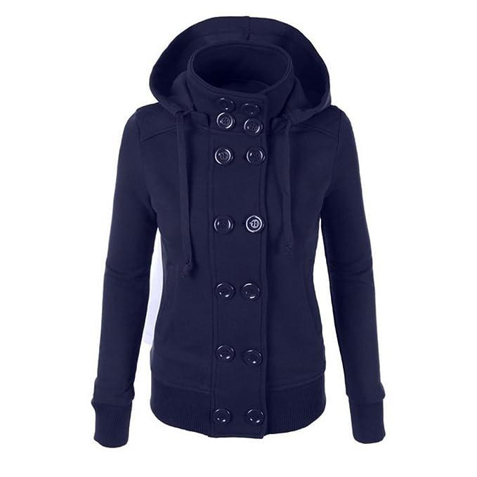 Perfectii Damen Sweatjacke Sweatshirt Zweireihiger Hoodie Kapuzenpullover  mit Kapuze Kurzmantel Jacke Mantel Outwear fe2d0e6d28