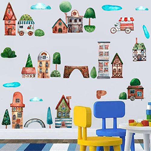 TOARTi Watercolor Modern City Wall Decal, Village House Building Trees Wall Sticker for Kids Bedroom Decoration (35pcs Colorful City Town -