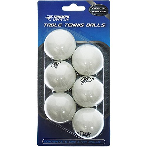 6-Pack Triumph Sports USA 1-Star 40mm Table Tennis Balls Fun Ping Pong Balls 3 Colors of Ping-Pong Balls Available Glow In The Dark, Orange, and White (White) -