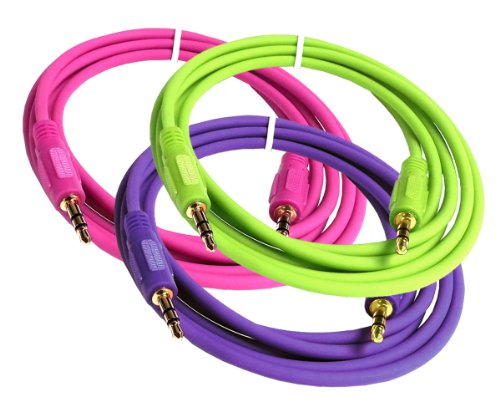 Importer520 3in1 Combo (Green Purple Hot Pink) 3 Feet Mini 3.5mm Plug Male to Male Stereo Auxiliary Aux Cord Cable For Apple iPhone 3 3G 3GS 4 4S 5 5C iPad 1 2 the New iPad