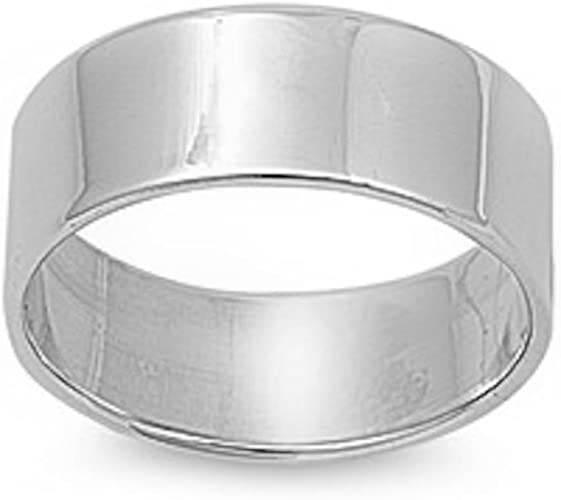 Lex /& Lu Sterling Silver SS 10mm Comfort Fit Flat Band Ring