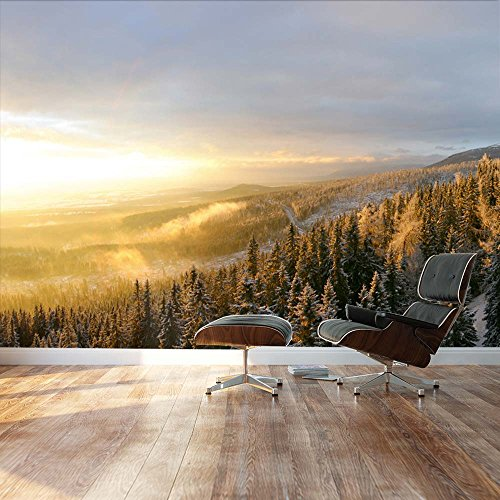 Winter Forest Snow with a warm sunset on the misty air Landscape Wall Mural