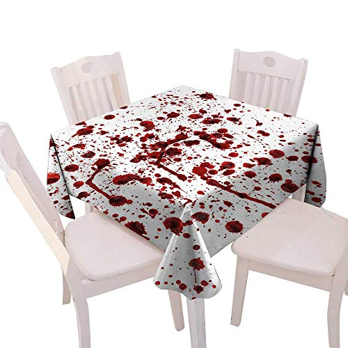 Cheery-Home Durable Polyeste Tablecloth Summer & Outdoor Picnics,(W50 x L50) Bloody Splashes Blood Grunge Style Bloodstain Horror Scary Zombie Halloween Themed Print Red White.