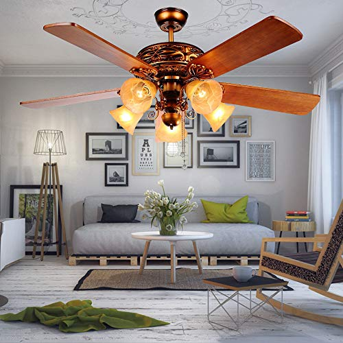 Andersonlight 52-Inch Ceiling Fan with Five Brazilian Cherry/Harvest Mahogany Blades and Swirled Marble Glass Light Kit (Red Bronze) ()