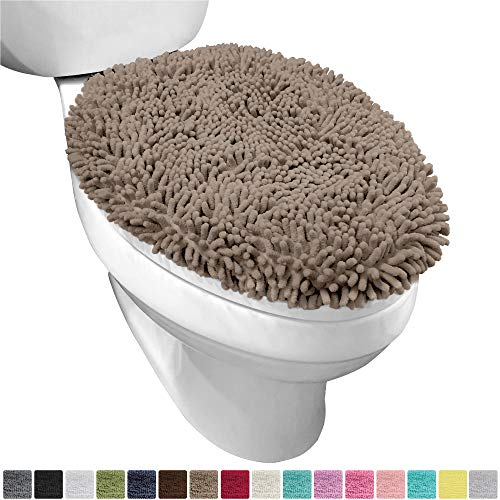 Gorilla Grip Original Shag Chenille Bathroom Toilet Lid Cover, 19.5 x 18.5 Inches Large Size, Machine Washable, Ultra Soft Plush Fabric Covers, Fits Most Size Toilet Lids for Bathroom, Beige