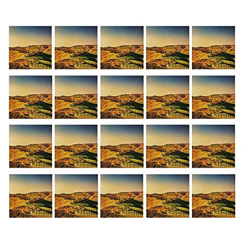 - C COABALLA Italy 3D Ceramic Tile Stickers 20 Pieces,Tuscany Crete Senesi Rural Landscape Cypress Trees Country Farmland Europe Decorative for Home,3.9