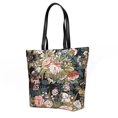 Signare Women's Navy & Pink Fashion Canvas Tapestry Shoulder Tote Handbag, Travel Handbags for Shopper, Daily Purse Tote Bag with Peony Flower in Black (SHOU-PEO)