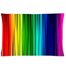 Rainbow Curtain Pillowcases Custom Pillow Case Cushion Cover 20 X 30 Inch Two Sides