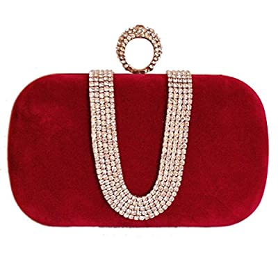 Chicastic Suede Velvet Rhinestone Stud One Ring Decor Evening Cocktail Clutch Bag