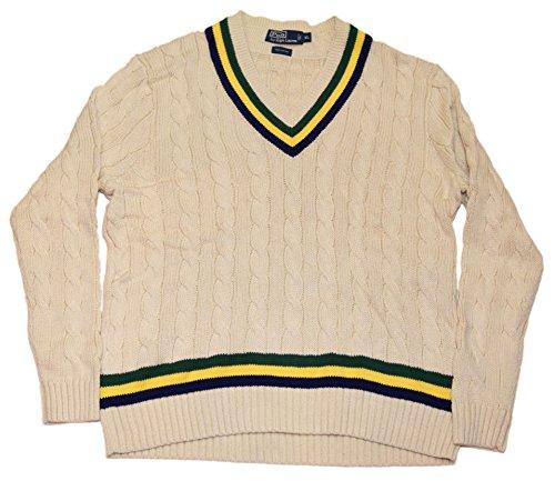 Polo Ralph Lauren Men V-Neck Cable Collegiate Sweater Cream Navy Yellow Green XL (Striped Polo Collegiate)