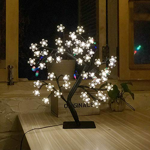 LED Cherry Blossom Light Tree - 19.6 inch Tabletop 48 LEDs Bonsai Tree Light, Black Branches Clear Flower, Perfect for Home Festival christmas Party Wedding Indoor Outdoor Decoration, Warm White (Cherry Tree Lights)