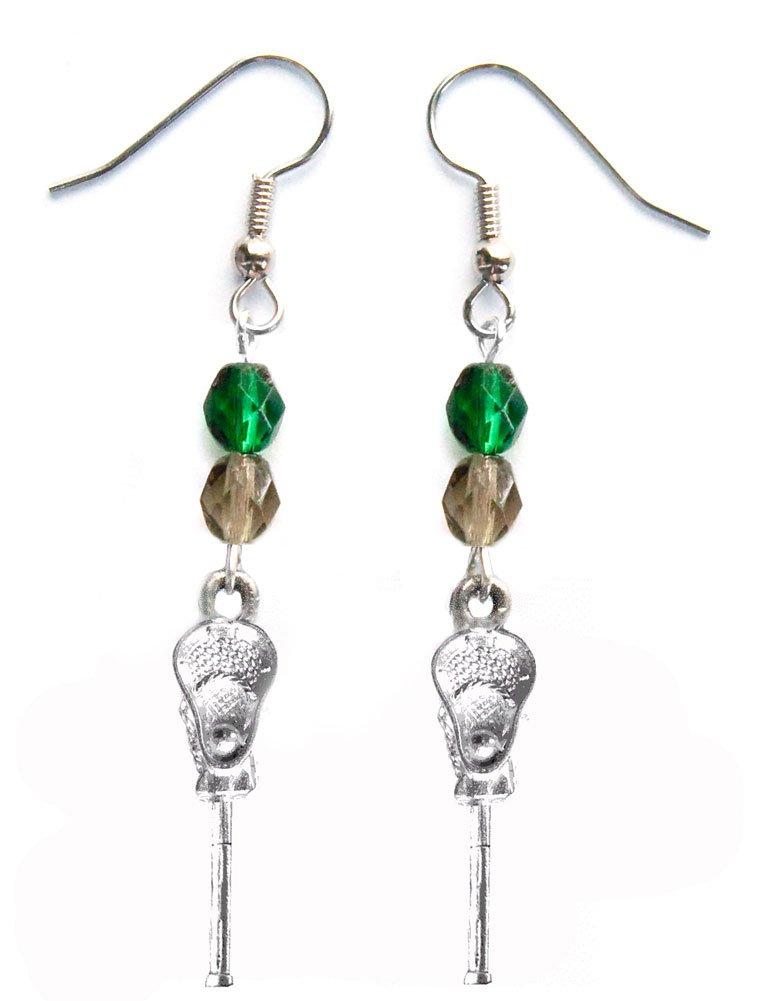 ''Lacrosse Stick & Ball'' Lacrosse Earrings (Team Colors Forest Green & Grey)
