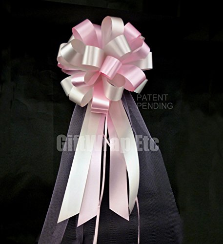 Pink and Silver Wedding Pew Pull Bows with Tulle Tails - 8'' Wide, Set of 6 by GiftWrap Etc.