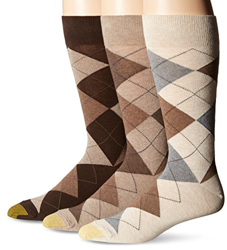 Gold Toe Men's 3-Pack Carlyle Argyle Crew Sock Taupe Argyle Mix Shoe Size: 6 - 12.5