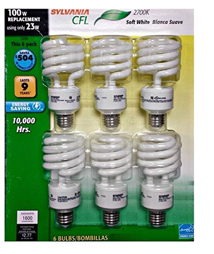 100 Lights 6 Watt Bulb - Sylvania CFL 2700K 100W Replacement Bulbs (Pack of 6, Model X28161LV)