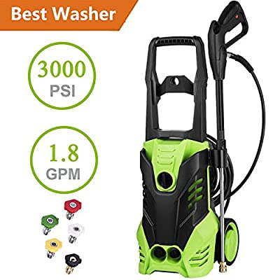 Jaketen 3000 PSI High Pressure Washer Electric Power Washer 1.8 GPM 1800W Sprayer Cleaner Machine with 5 Quick-Connect Spray Nozzles [US STOCK]