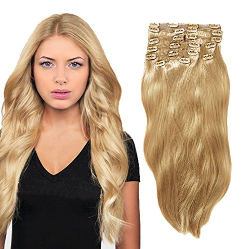 YONNA Remy Human Hair Clip in Extensions Double Weft Long Soft Straight 10 Pieces Thick to Ends Full Head Platinum Blonde (#613) 24inch 220g by YONNA